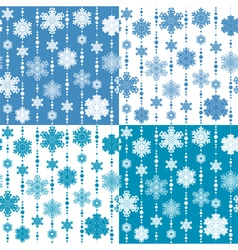 set seamless patterns with snowflakes vector image