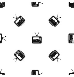 soccer match on tv pattern seamless black vector image