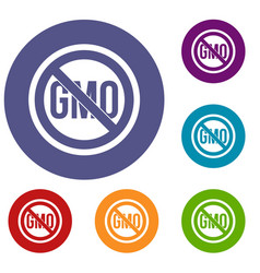 Stop gmo icons set vector