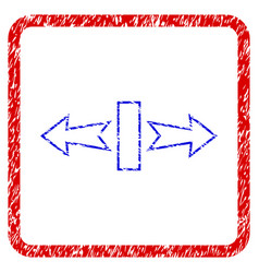 Stretch arrows horizontally grunge framed icon vector