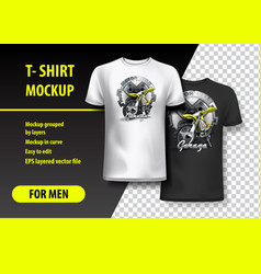 T-shirt template fully editable with motorbike vector