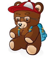 Teddy bear cartoon back to school vector