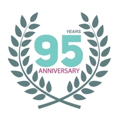 Template Logo 95 Anniversary in Laurel Wreath vector image