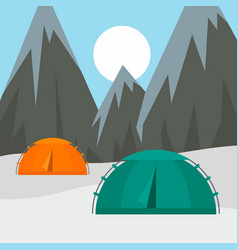 tents in mountains background flat style vector image
