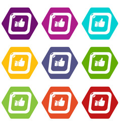thumbs up icons set 9 vector image