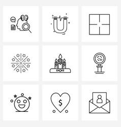 Ui set 9 basic line icons celebrations year vector