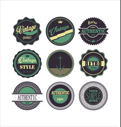 Vintage labels purple and green set 1 vector