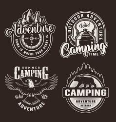 Vintage monochrome summer recreation logotypes vector