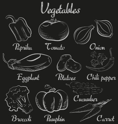 Vintage vegetables Hand-drawn chalk blackboard vector