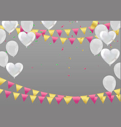 White background with balloons and heart balloons vector