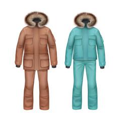 Winter coat and pants vector