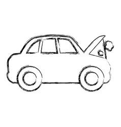 Figure car burnt engine and dangerous diagnostic vector
