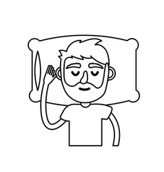 Line man with hairstyle desing sleeping vector