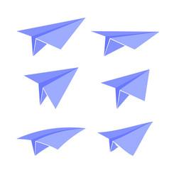 blue paper plane set vector image vector image