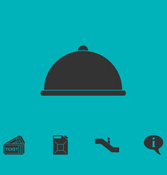 covered food icon flat vector image vector image