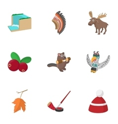 Holiday in Canada icons set cartoon style vector image vector image