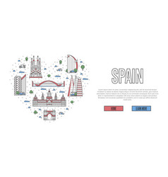 i love spain poster in linear style vector image