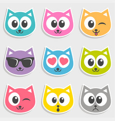 set of colorful cats with different emotions vector image