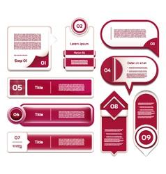 Set of red-violet progress version step icons vector image vector image
