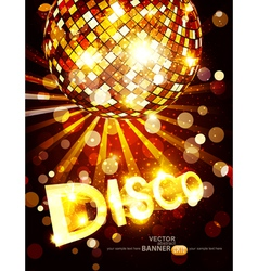 vertical disco background with golden disco ball vector image vector image