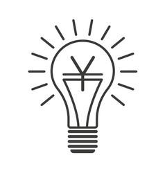 black outline lightbulb with yen vector image vector image