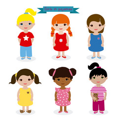 set girls in pajamas vector image vector image