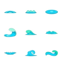 Tide icons set cartoon style vector