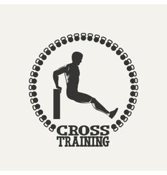 Cross Training man silhouet 2 logo vector image vector image