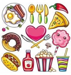 set of readytoeat food icons vector image vector image