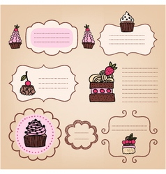 set of vintage frames with cakes vector image