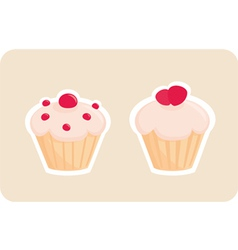 Sweet retro cupcakes silhouettes vector image