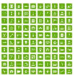 100 craft icons set grunge green vector