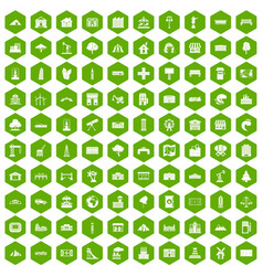 100 landscape element icons hexagon green vector image