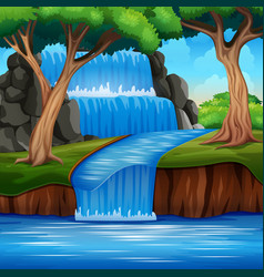A beautiful waterfall landscape background in fore vector