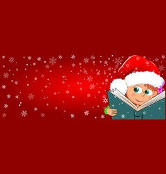 a child reads a book for christmas vector image
