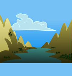 a landscape of river in the middle of two big vector image