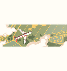 airplane flight top view panoramic landscape vector image