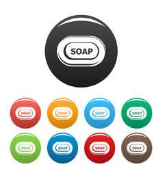 Aloe soap icons set color vector