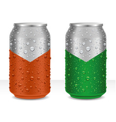 Aluminum cans in with fresh water drops vector