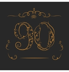 Anniversary 90th signs vector image