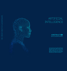 artificial intelligence head city human vector image