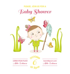 Baby girl with butterflies - shower card vector