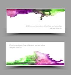 Banner watercolor violet green vector image
