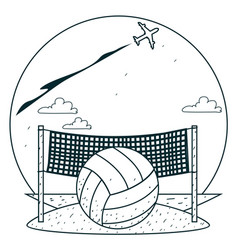 Beach volleyball outline drawings for coloring vector