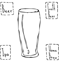 Beer glass weizen type hand drawn vector