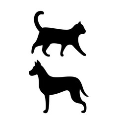 black dog and cat silhouettes canine feline vector image