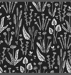 Botanica floral dark - seamless monochrome pattern vector