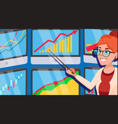 broker female stock-market broker charts vector image