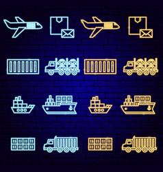 cargo shipping transport neon vector image