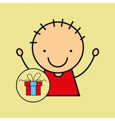 cartoon boy happy gift vector image